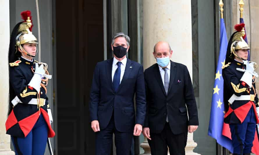 Antony Blinken, left, with FGrench foreign minister Jean-Yves Le Drian in Paris where the warned Iran about the nuclear talks.