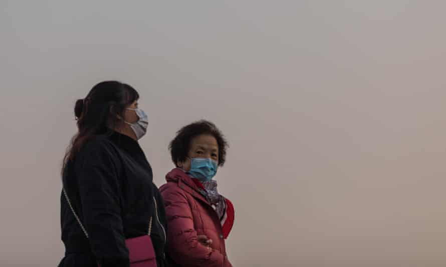 Two people in Hong Kong in January 2020.