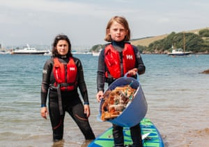Anna and Ella Turns with their recovered plastic in Salcombe