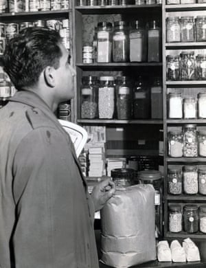 In the 'Spice Box', the shop under the Bombay Restaurant, Manchester, 1957.