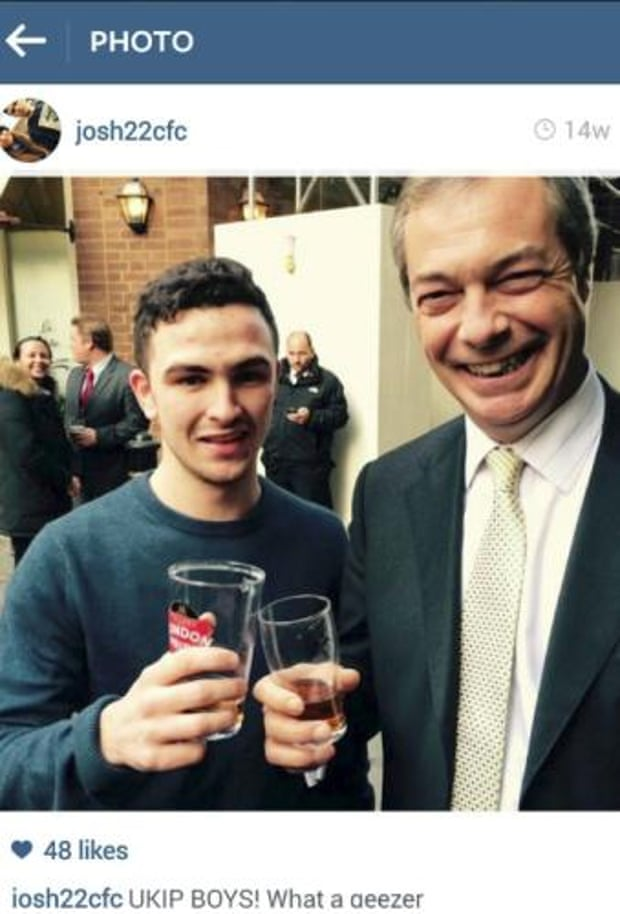 Chelsea fan Josh Parsons with Nigel Farage