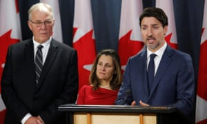 Justin Trudeau at a press conference on Friday. Trudeau said: 'The situation as it currently stands is unacceptable and untenable.'