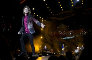 Mick Jagger walks out to give fans a closer view