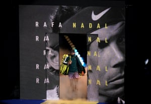 Rafael Nadal walks out for his semi final match against Daniil Medvedev.
