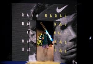 Rafael Nadal walks out for his semi final match against Daniil Medvedev.