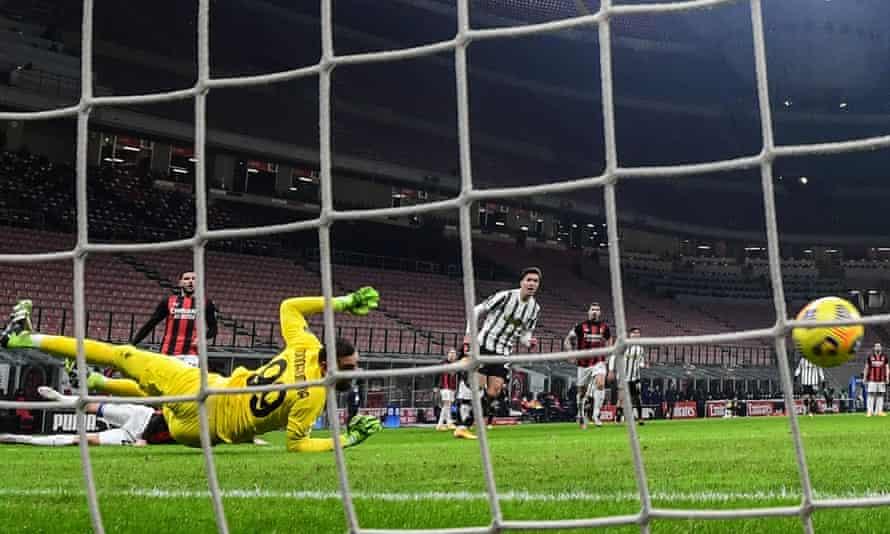 Federico Chiesa fires his effort past Milan's goalkeeper Gianluigi Donnarumma to open the scoring