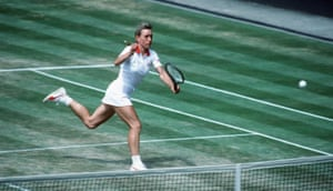 Martina Navratilova plays a forehand volley in 1983