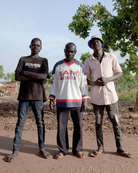 Young men at the Bidi Bidi refugee camp in Uganda