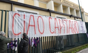 A giant banner reading was hung outside Fiorentina's stadium in tribute to the club's captain Davide Astori, who died on Sunday.