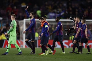 Pique applauds the fans after Barcelona's 5-1 win over Lyon.
