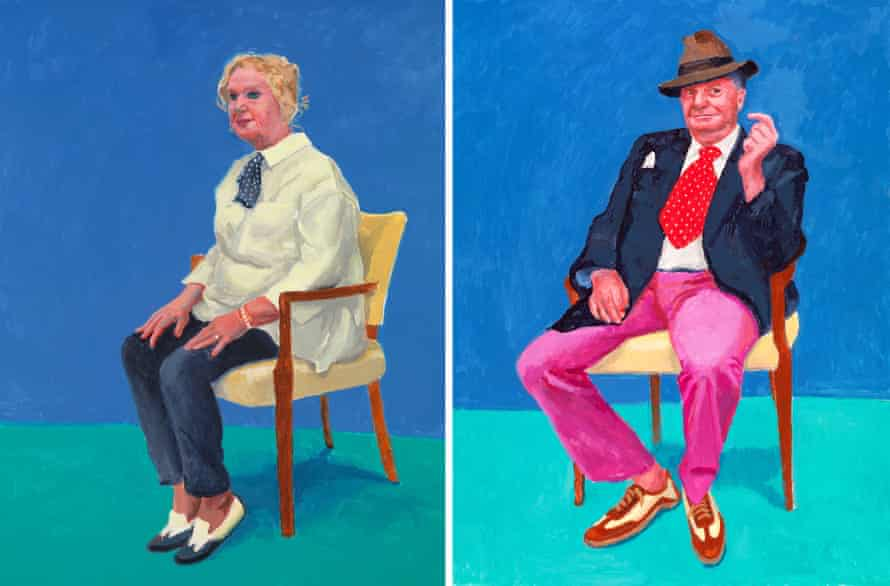 'Democracy in portraiture': Celia Birtwell, 31 Aug-4 Sep 2015, left, and Barry Humphries, 26-28 Mar 2015 by David Hockney.