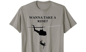 A T-shirt alluding to helicopter flights by the Chilean military dictatorship of Gen Augusto Pinochet that cast political prisoners to their deaths in the ocean, as presented for sale on Amazon on 5 December 2019.