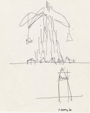 Frank Gehry's sketch for the 1980 Late Entries exhibition.