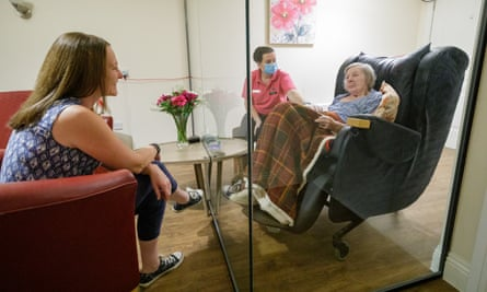 A screened visiting pod in a care home in Somerset.