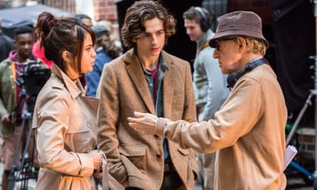 Selena Gomez, Timothée Chalamet and Woody Allen on the set of A Rainy Day in New York last year.