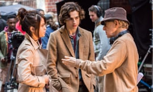 Selena Gomez, Timothée Chalamet and Woody Allen on location of A Rainy Day in New York