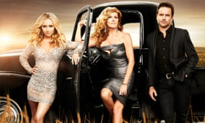 Hayden Panettiere (Juliette Barnes), Connie Britton (Rayna James) and Charles Esten (Deacon Claybourne) from Nashville