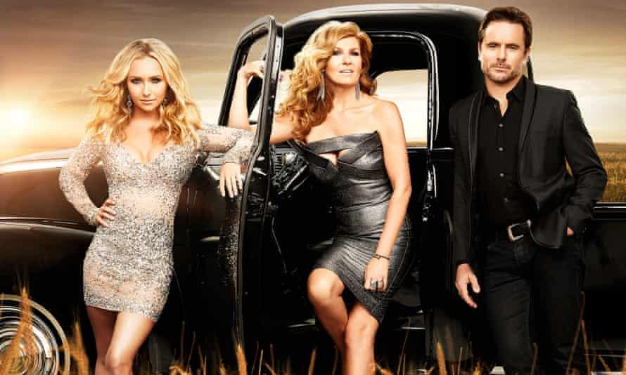 Hayden Panettiere (Juliette Barnes), Connie Britton (Rayna James) and Charles Esten (Deacon Claybourne) from Nashville