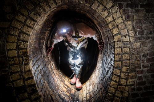 Thames Water sewer inspectors work on a section of the vast London sewerage system, near to Farringdon and Clerkenwell