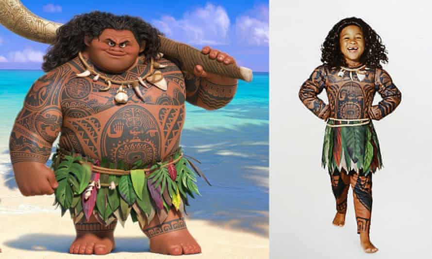 Disney's Maui character alongside the Halloween costume that has been pulled from sale.