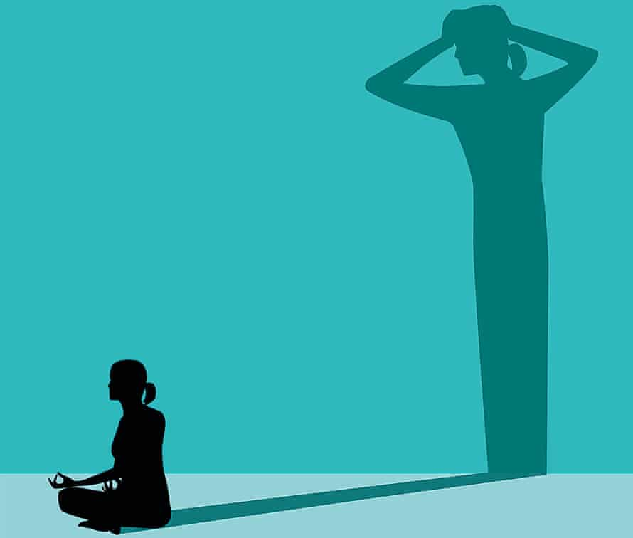 Illustration of woman meditating with a shadow of the same woman holding her own head
