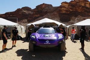 The X44 team prepare their car.
