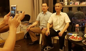 Chinese human rights lawyer Li Heping (right) is released from custody after two years in which he was tried in secret. Photograph: Handout