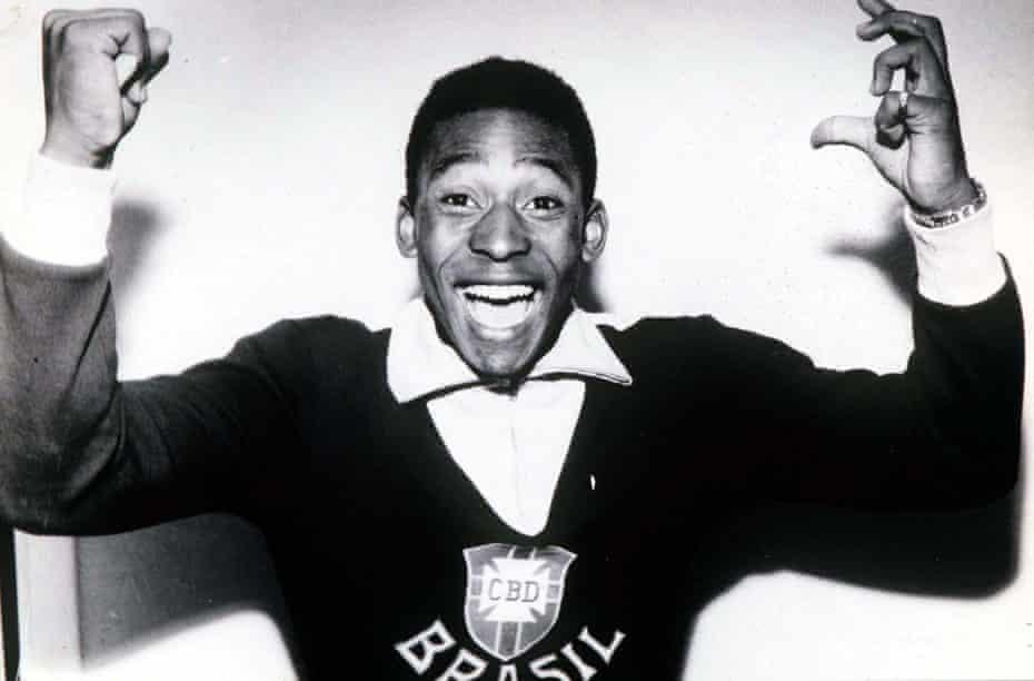 Pelé celebrates after the 1958 World Cup final against Sweden.