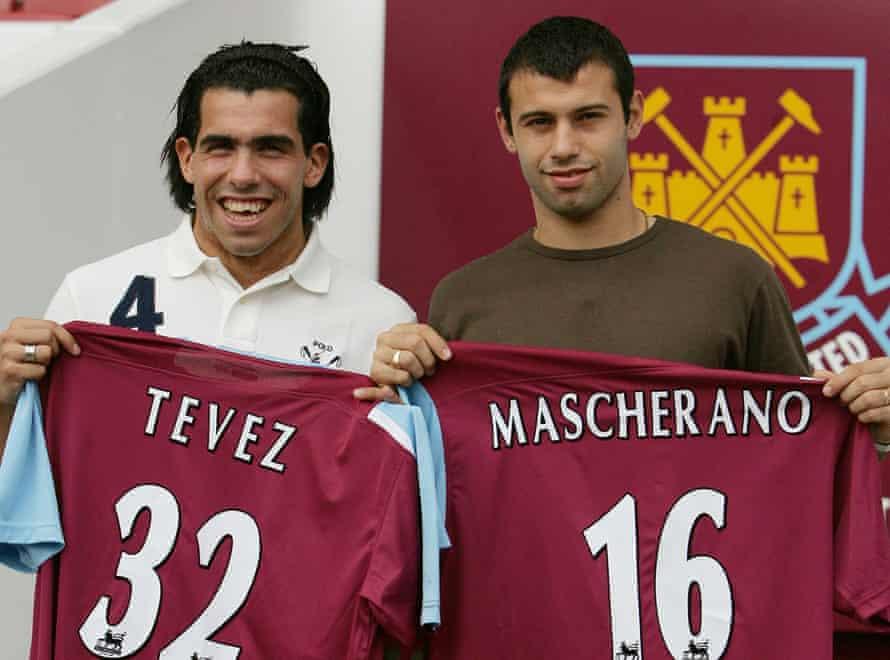 All smiles: Carlos Tevez and Javier Mascherano land at Upton Park.