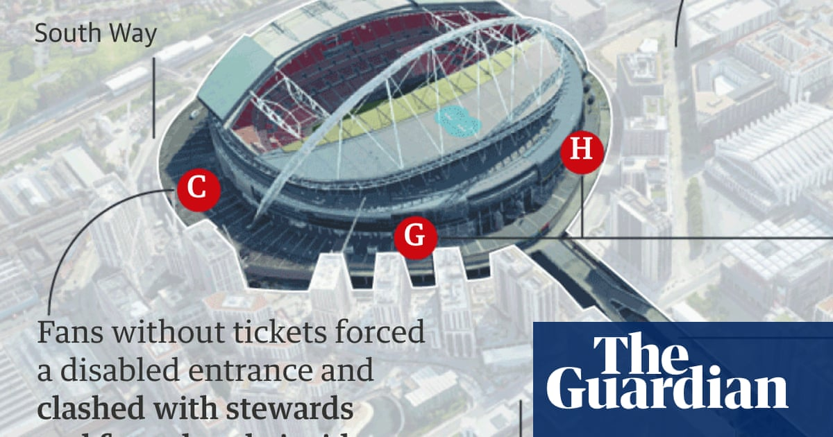 'Absolute bedlam': how ticketless fans stormed Wembley