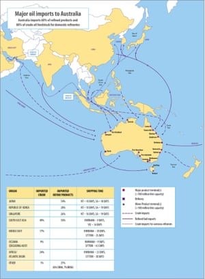 Map of Australian oil imports from the liquid fuel security review.