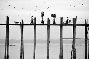 Open travel and 3rd Place, Thailand national award winner by Suphakaln WongcompuneWalking'Walking on the U-Bein Bridge in Myanmar'
