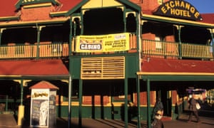 Kalgoorlie's Exchange Hotel features an advertisement for 'skimpies' night out the front.