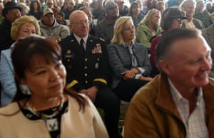 """People listen to Harold Frazier, chairman of the Cheyenne River Reservation, speak at the Honoring the Spirit event at Fort Laramie National Historic Site in Wyoming, U.S., April 28, 2018. The event commemorates the 150th anniversary of the Fort Laramie treaty. """"We are human beings like they are. We need to be treated with respect. We have every right to live to be free in our lands. We face that coming down... can't go through there have to have a permit. That's not our laws, this is our land and we should be able to ride anywhere we want,"""" said Frazier during his speech"""