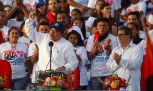 Daniel Ortega speaks during the celebration of the 39th anniversary of the Sandinista revolution at the Plaza de la Fe, in Managua, Nicaragua, on 19 July.
