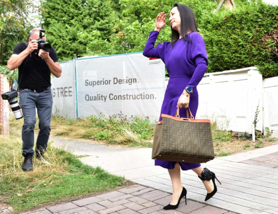 Huawei CFO Meng Wanzhou leaves her Vancouver home to attend an extradition hearing last month.