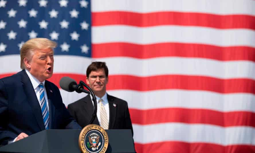 Trump with defense secretary Mark Esper in March. A bipartisan group of senators have urged Esper to 'rescind your decision to discontinue support for Stars and Stripes'.