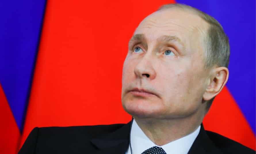 President Vladimir Putin at a press conference in the Kremlin.