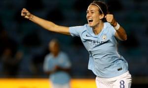 Jill Scott celebrates scoring Manchester City's second goal in the 3-0 win against St Pölten in the Women's Champions League