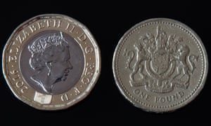 A new and old pound coin