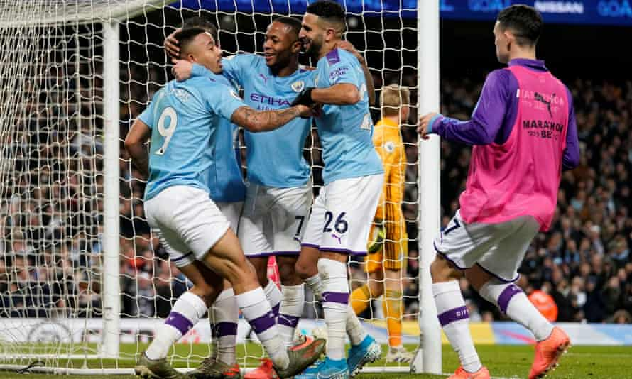 Gabriel Jesus celebrates after scoring Manchester City's third goal against Leicester.