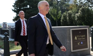 Steve Linick leaves a briefing at the Capitol in Washington last year.