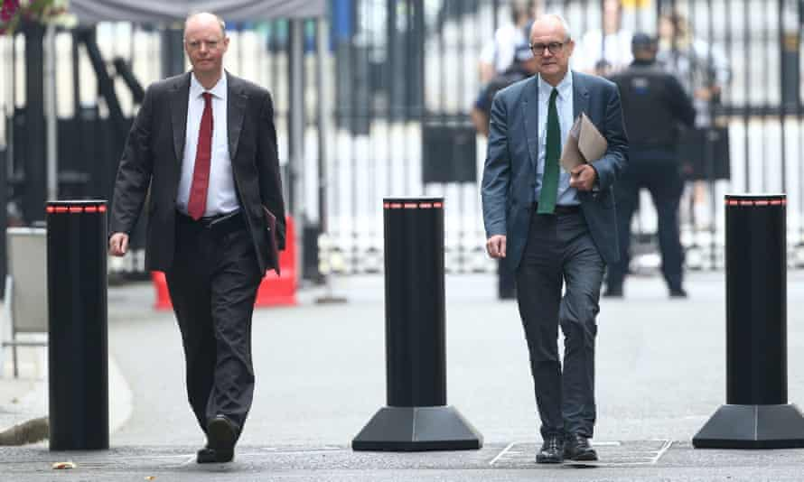 Chris Whitty and Patrick Vallance arriving in Downing Street in September.