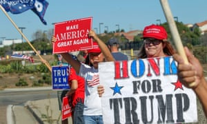 Trump supporters rally in Oceanside, California.