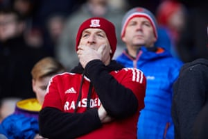 An anxious Middlesbrough fan as the second half gets underway.