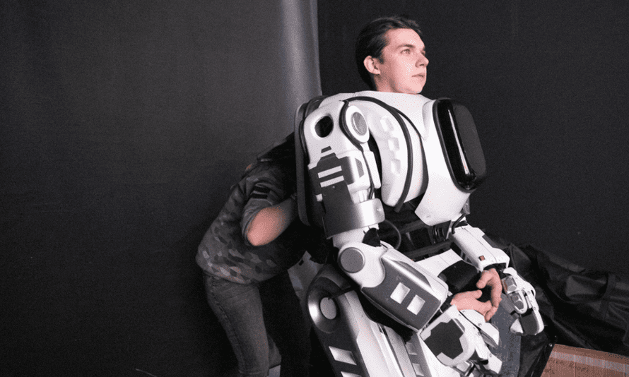 An actor in the robot suit.