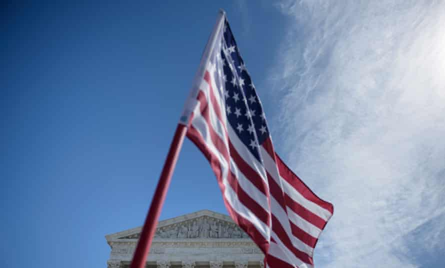 A flag outside the US supreme court