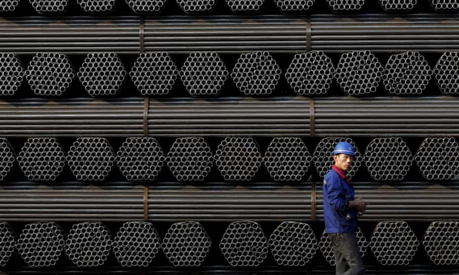 A pile of steel pipe products in Tangshan in China's Hebei province. The country exported 112m tonnes in 2015 – 10 times more than the UK's total output.
