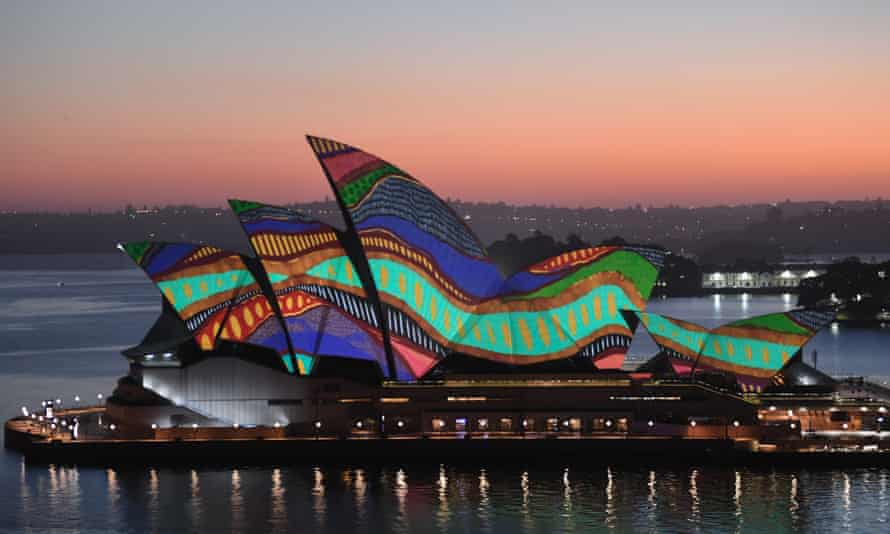 An Indigenous artwork is projected on to the sails of the Sydney Opera House on 26 January. 'The arts, universities, public broadcasting and the relationship with First Nations peoples are at the frontier of the new and the important big ideas we need to embrace – and fund – to build an Australia we can be proud of,' writes Wesley Enoch.