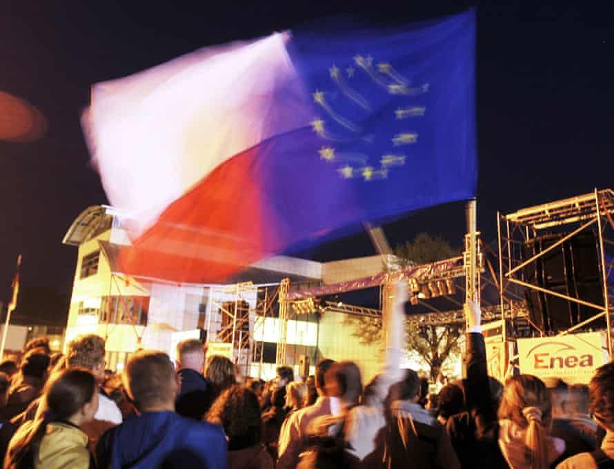 Locals mark Poland's accession to the EU in April 2004.